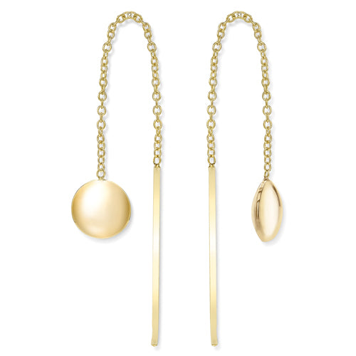 9ct Gold Polished Circle Pull-through Earrings