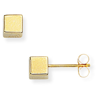 9ct Gold Cube Stud Earrings