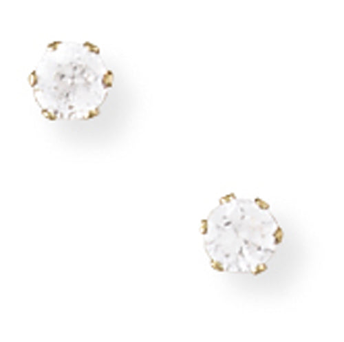 9ct Gold Claw-set 3mm CZ Earrings