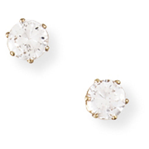 9ct Gold Claw-set 4mm CZ Earrings