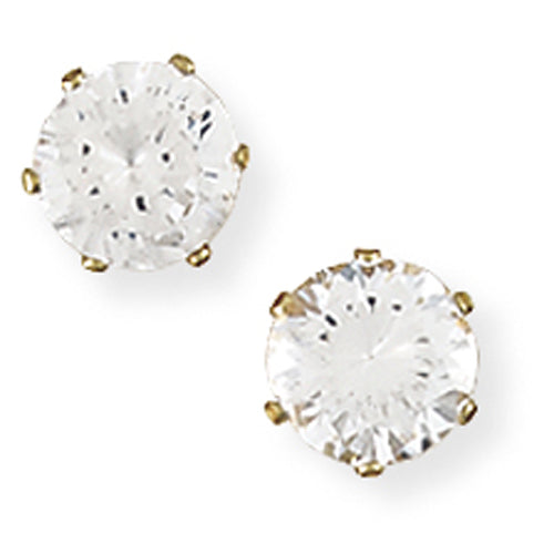 9ct Gold Claw-set 7mm CZ Earrings