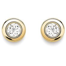 Load image into Gallery viewer, 9ct Gold Flat 4mm CZ Earrings