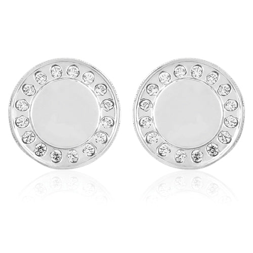 9ct Gold CZ Button Stud Earrings - White Gold