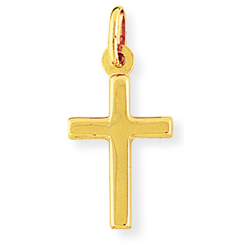 9ct Gold Plain Polished Cross Necklace - Small