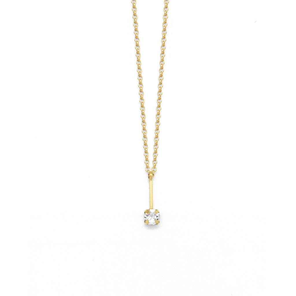 Victoria Cruz Crystal Bar Necklace