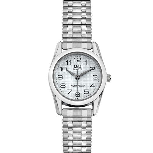 Q&Q Ladies Silver Watch with Expandable Strap
