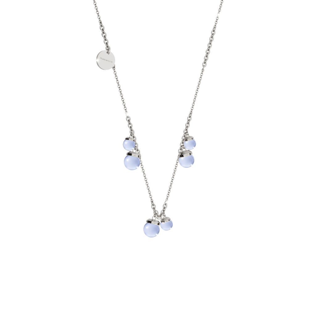REBECCA Hollywood Stone Necklace - Six Stone Lavender