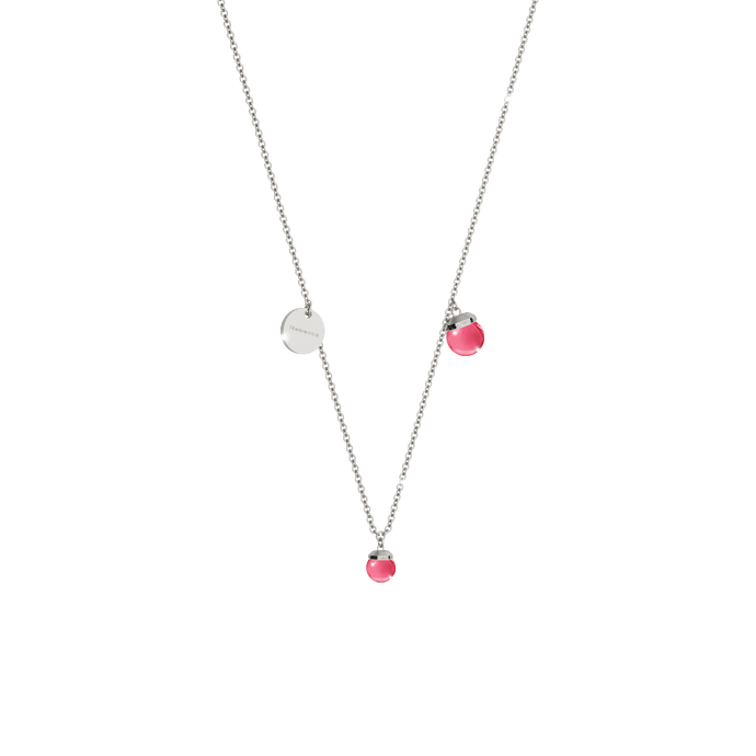 REBECCA Hollywood Stone Necklace - Two Stone Cranberry