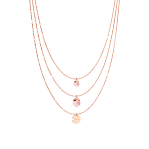 Copy of REBECCA Hollywood Stone Necklace - Layered Rose Quartz