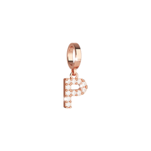 Load image into Gallery viewer, REBECCA Rose Crystal Letter Charm & Silver Bracelet