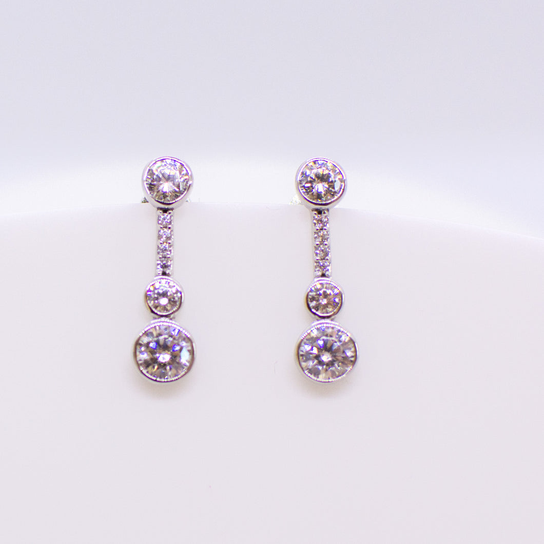 Silver C-Flawless CZ Drop Earrings