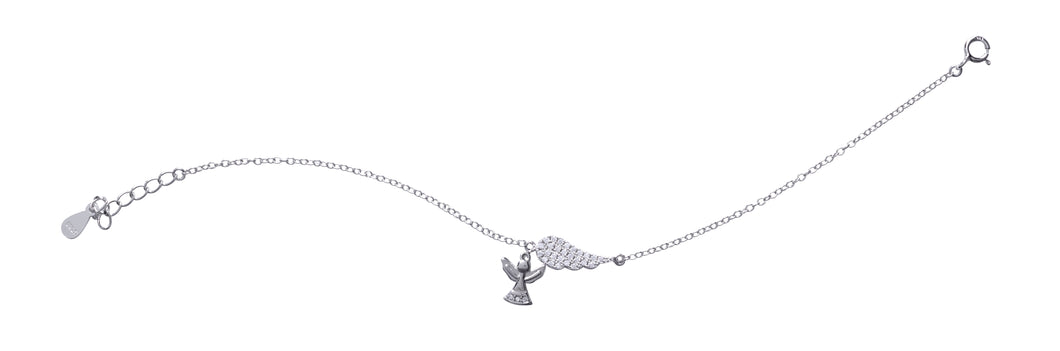 Kids Silver CZ Angel Feather Bracelet