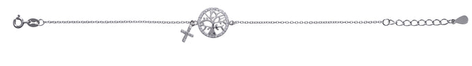 Kids Silver CZ Tree of Life Bracelet