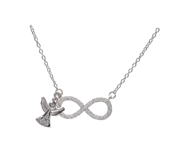 Kids Silver CZ Infinty Necklace
