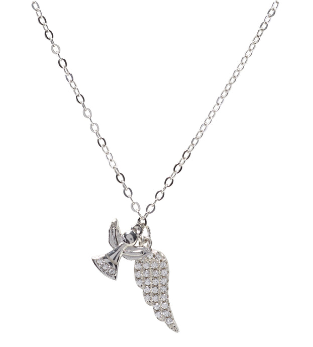 Kids Silver CZ Feather and Angel Necklace