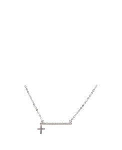 Kids Silver CZ Bar Necklace