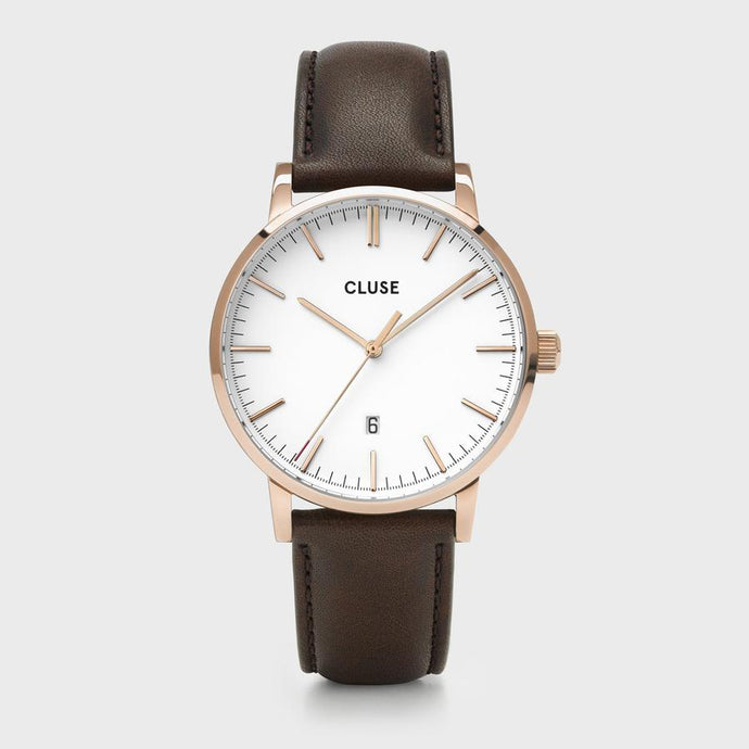 CLUSE Aravis leather rose gold white/dark brown