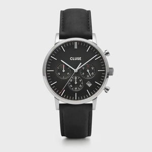 CLUSE Aravis chrono leather silver black/black