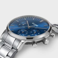 Load image into Gallery viewer, CLUSE Chrono Aravis Steel Silver/Dark Blue
