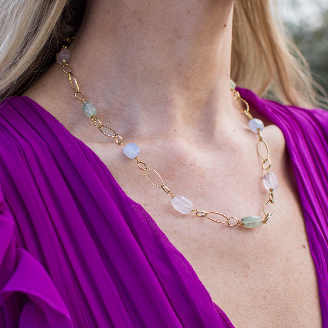 18ct Gold Rose, Green and Lavender Silky Quartz Necklace 50cm necklace 18ct yellow gold