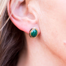 Load image into Gallery viewer, 18ct Gold Oval Malachite Stud Earrings