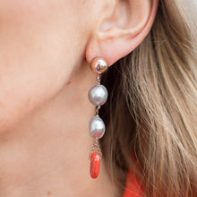 Load image into Gallery viewer, Grey Pearl & Red Coral Drop Earrings