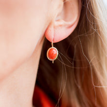 9ct Gold Oval Red Coral Drop Earrings