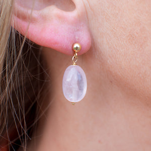 18ct Gold Rose Quartz Drop Earrings