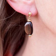 Load image into Gallery viewer, 18ct Gold Smoky Quartz Drop Earrings