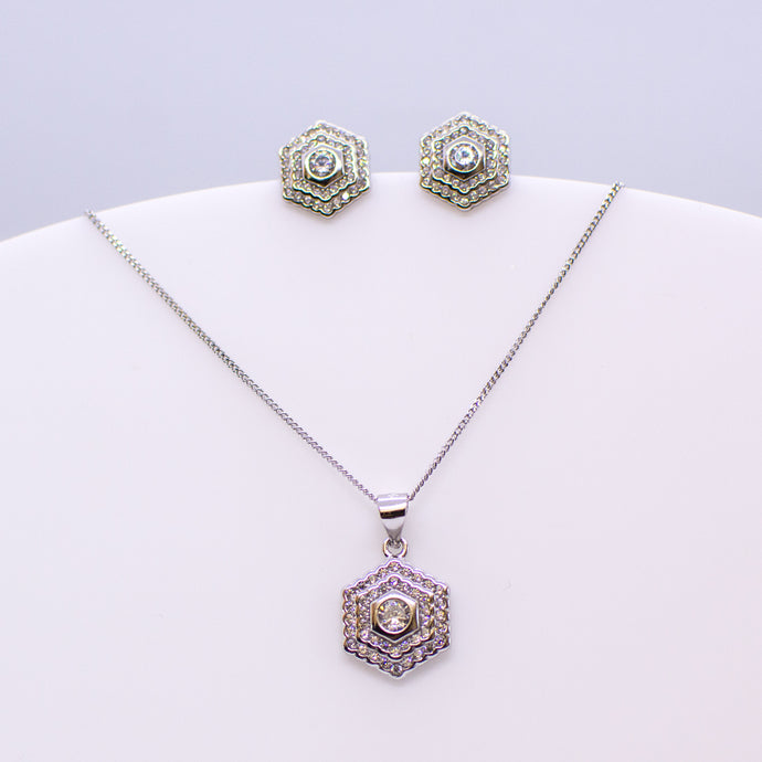 Silver CZ Double Halo Hexagon Earring and Necklace Set