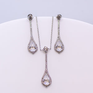 Silver CZ Pear Drop Earring and Necklace Set