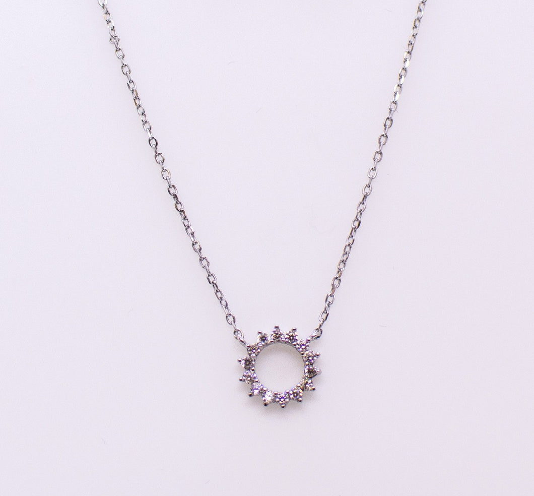 Silver CZ Open Circle Necklace