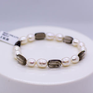 Cultured Freshwater Pearl & Smoky Quartz Bracelet - 8-12mm|19cm