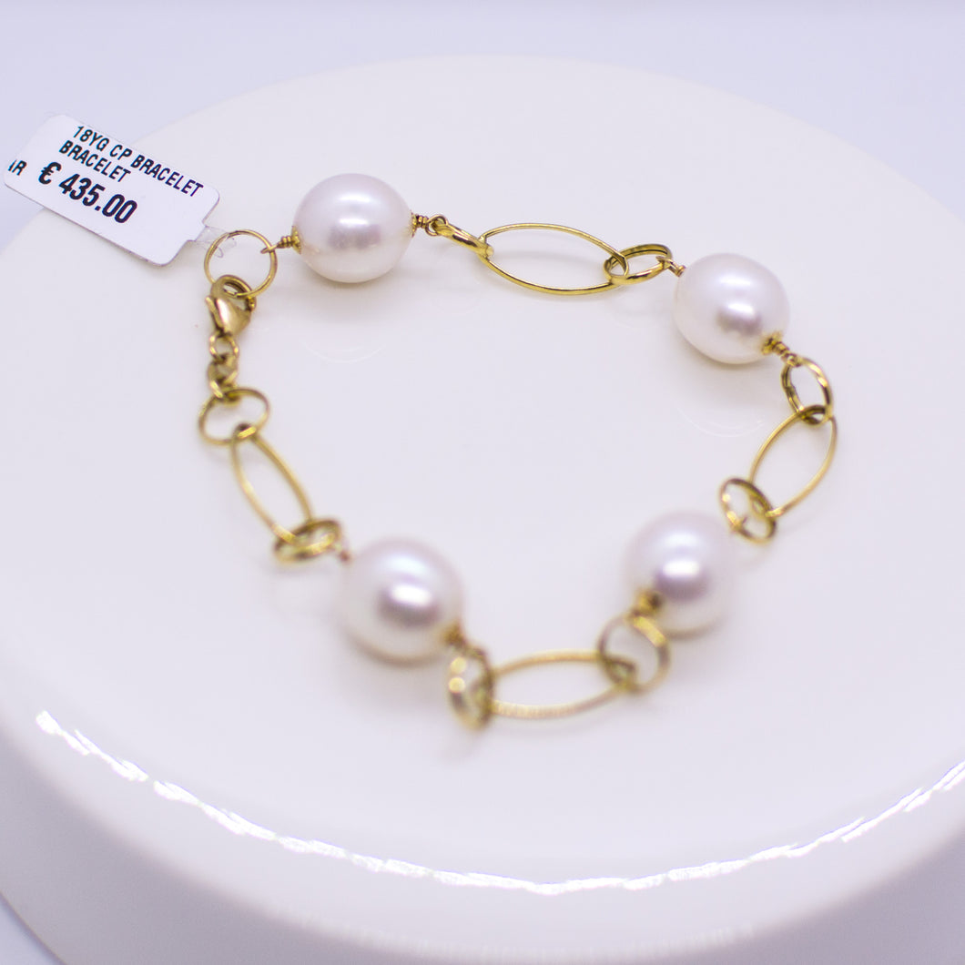 18ct Gold Pearl & Chain Bracelet