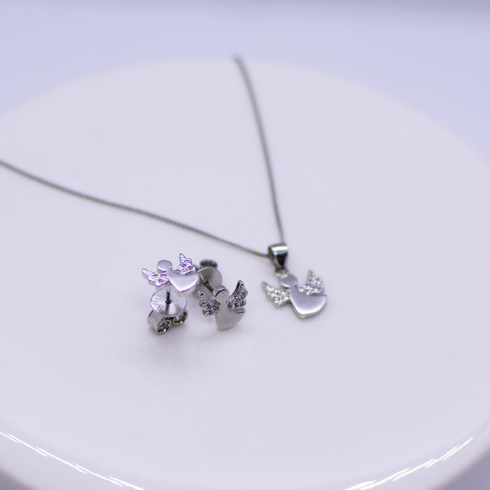 Silver CZ Guardian Angel Earring and Necklace Set