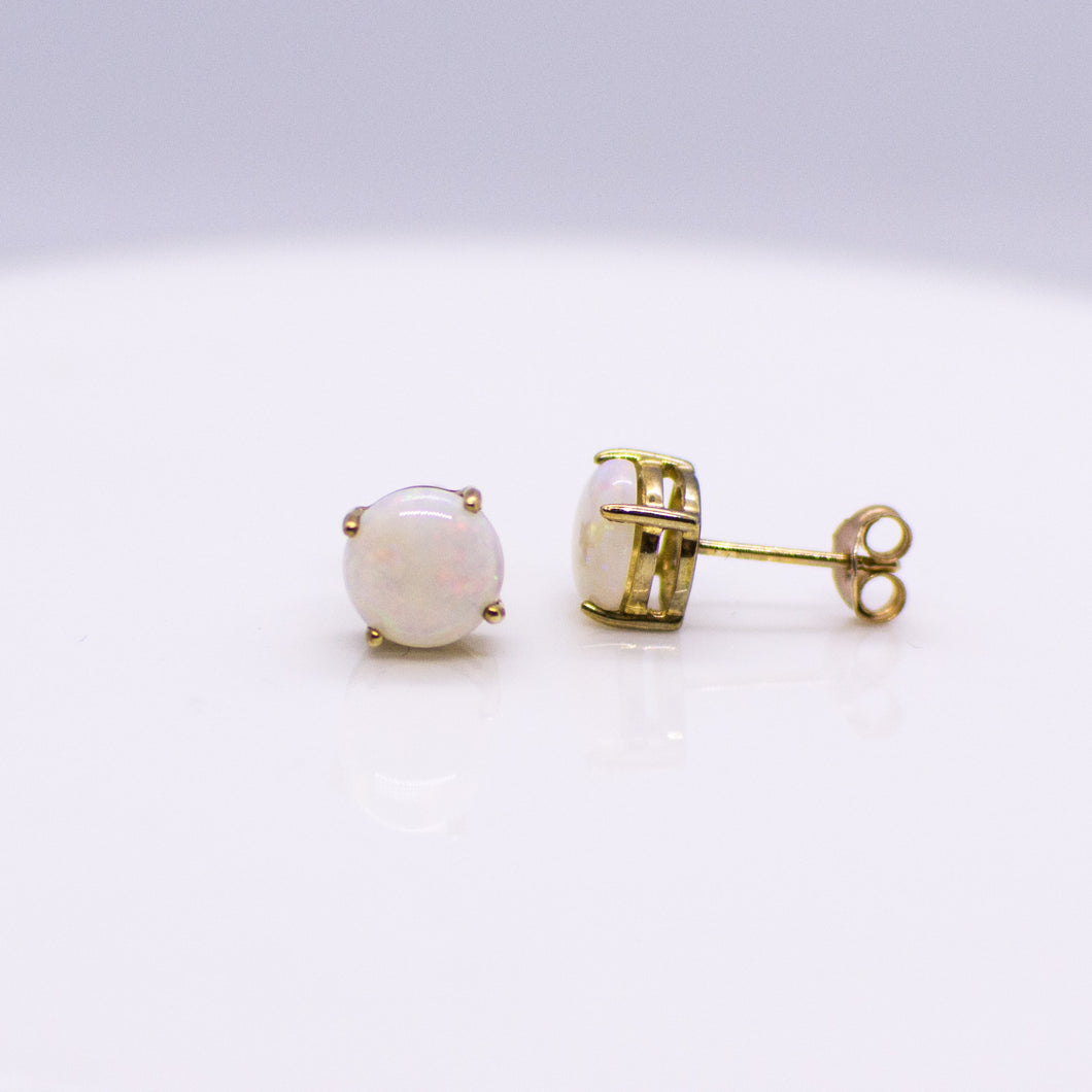 9ct Gold Round Gem Opal Stud Earrings
