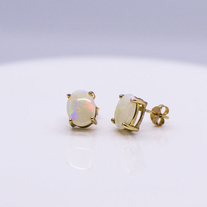 9ct Gold Oval Gem Opal Stud Earrings