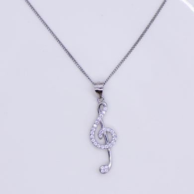 Silver CZ set Treble Clef pendant and chain This pretty Treble Clef is set with with glittering cubic zirconia stones.  An ideal necklace choice for music lovers of all ages. Product details: Product materials: 925 sterling silver, cubic zirconia Pendant dimensions:  33mm L x 9mm W Chain length: 44cm fine diamond cut curb chain