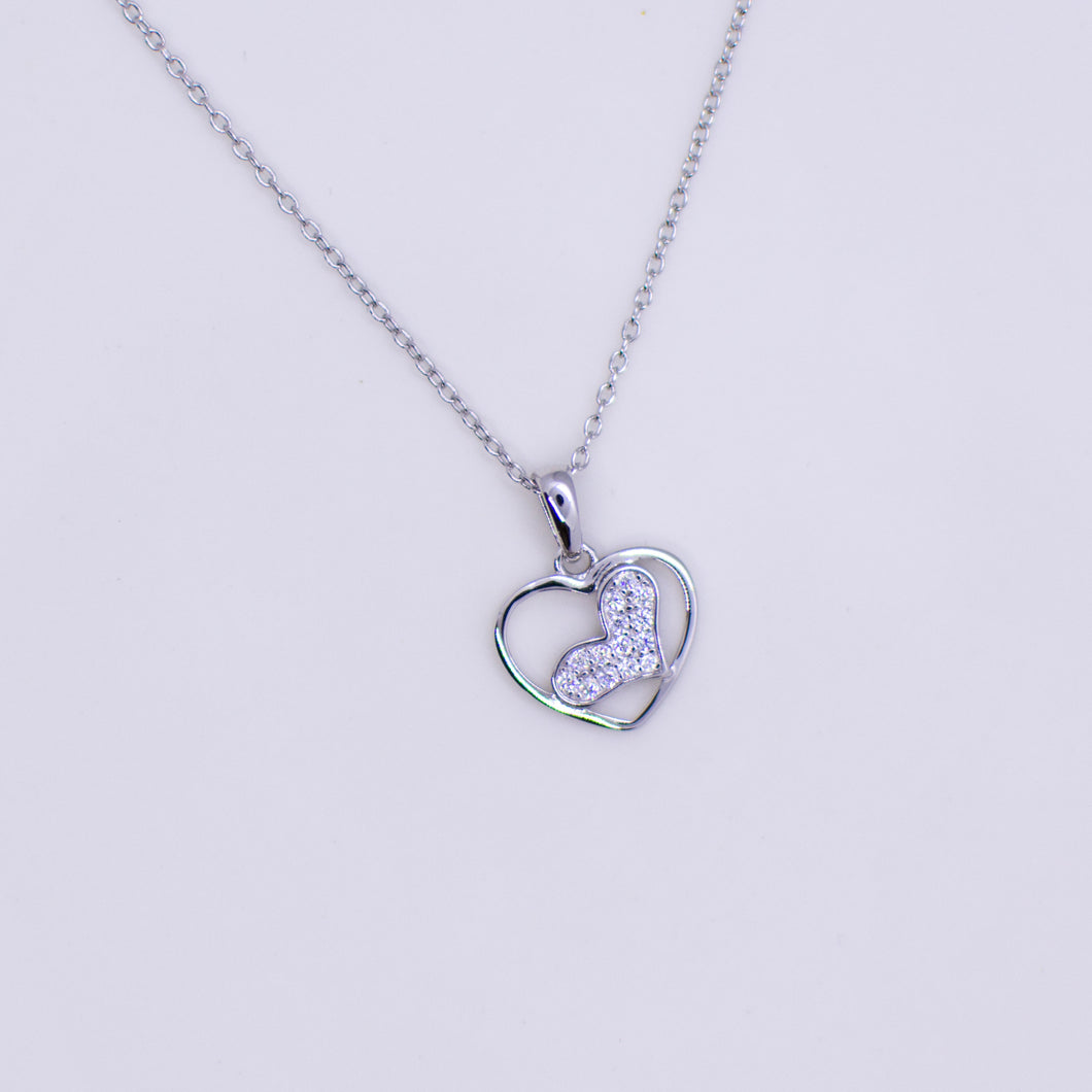 Silver CZ Two Hearts Necklace