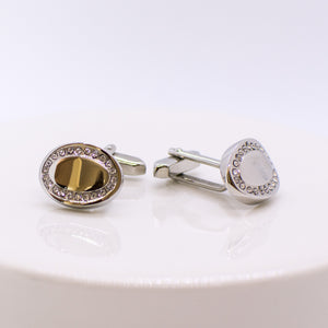 Silver and CZ Cufflinks - Oval