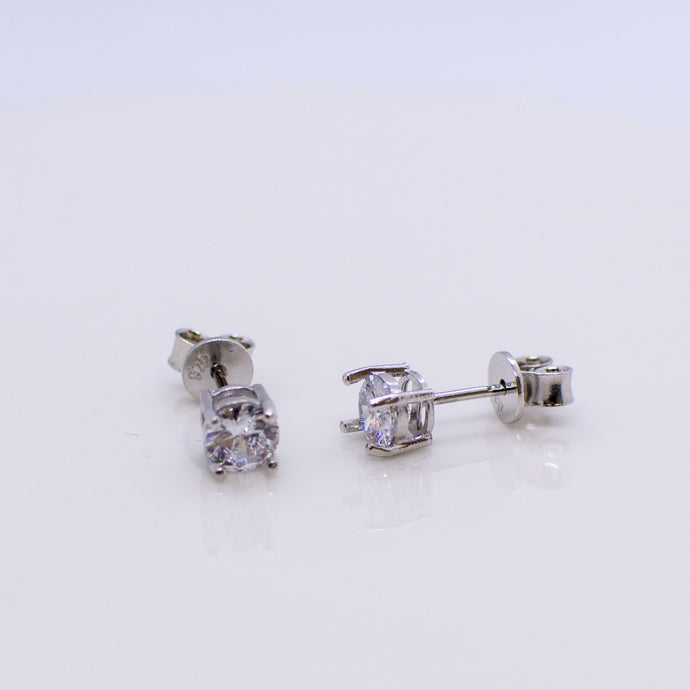 Silver Claw Set CZ Stud Earrings