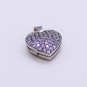 Silver CZ Heart Locket and Chain