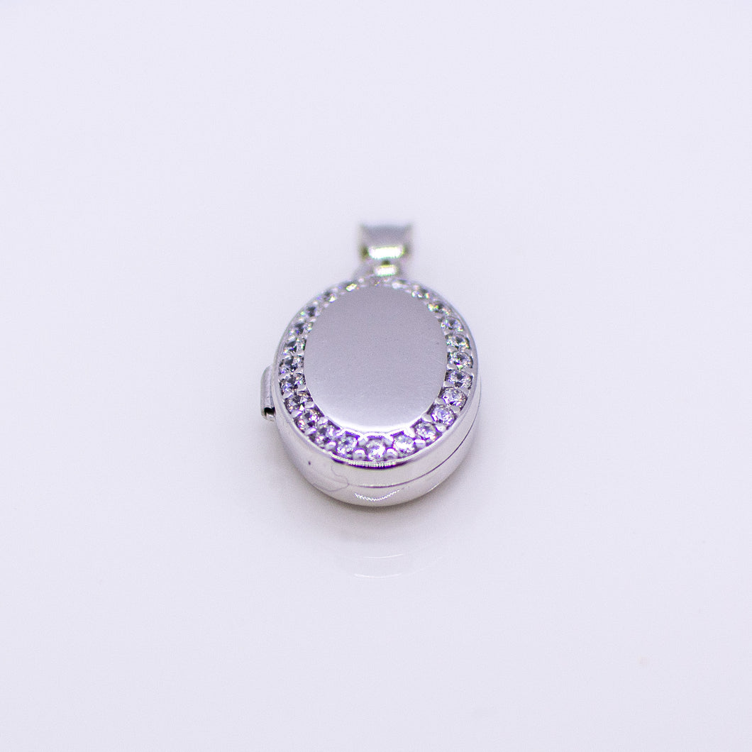 Silver CZ Oval Locket and Chain