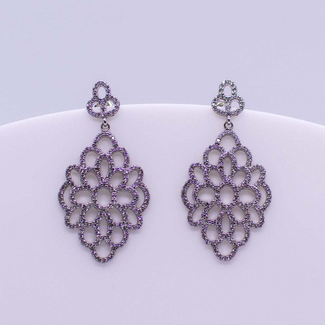 Silver CZ Long Drop Earrings - Lacy