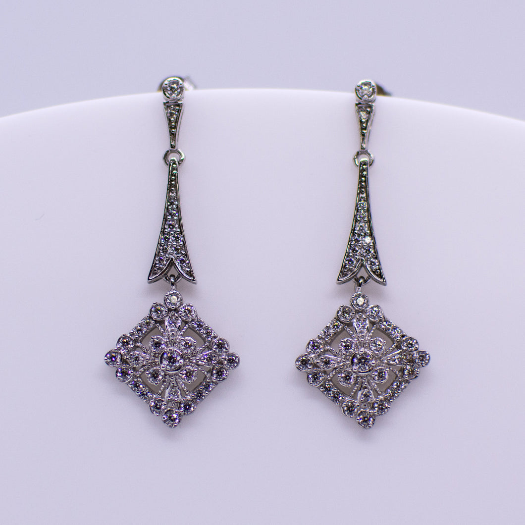Silver CZ Long Drop Earrings - Vintage