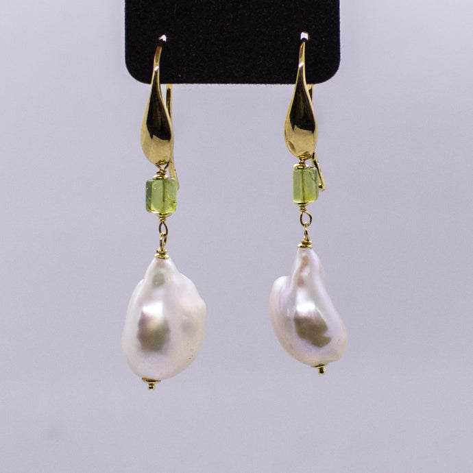 18ct Gold Baroque Pearl Drop Earrings with Peridot
