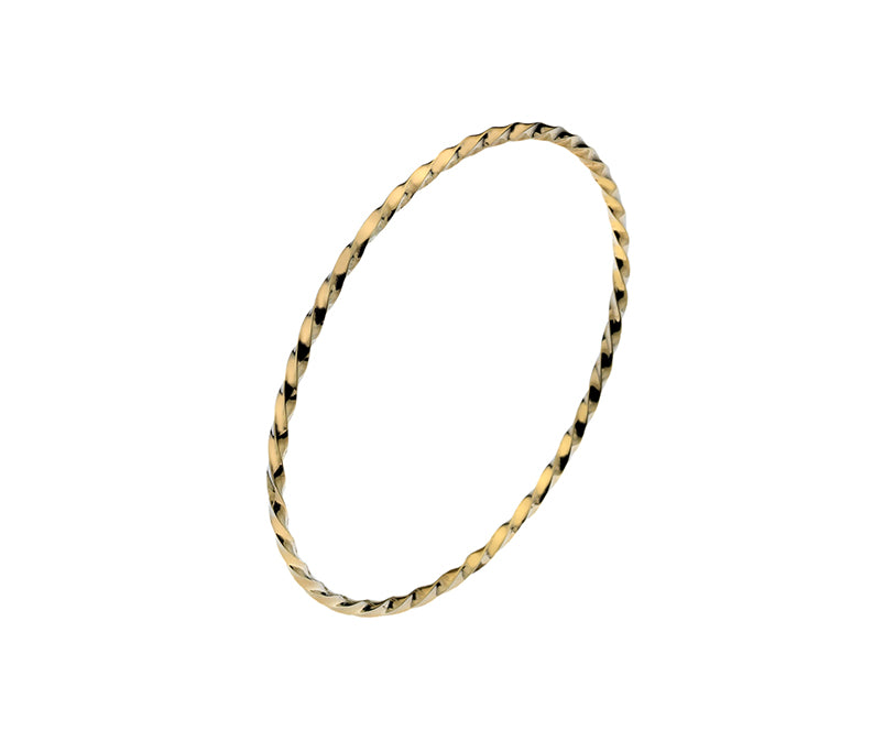 9ct Gold Classic Twist Polished Bangle 2mm
