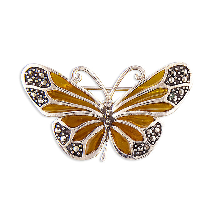 Silver Yellow Resin & Marcasite Butterfly Brooch