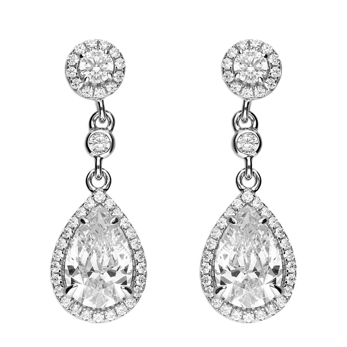 Silver Cz Halo Pear Halo Drop Earrings
