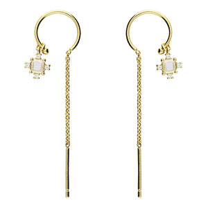 Sunshine Chain Pull Through Drop Earrings with CZ Charm